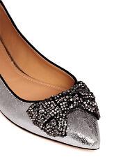 Tory Burch Vanessa Ballerina Flat Pointy Toe Ballet Shoe Crystals Bow Silver 9