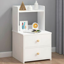 Bedside Table Cabinet Chest Of Shelve 2 Drawers With Bookshelf White Bedroom UK