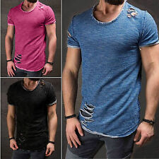 Trendy Mens Long T-Shirt Extended Casual Ripped Hip Hop Crew-Neck Tee Top Blouse