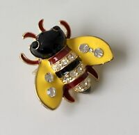 Adorable Bee  Brooch & Pendant enamel on metal with crystals