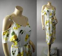 White Yellow Floral Print Off Shoulder Garden Party Sun Midi 224 mv Dress S M L