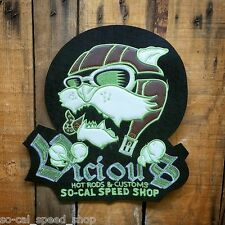SO CAL SPEED SHOP AVIATOR VTG STYLE CHAIN STITCH & LEATHER PATCH HOT ROD CAT