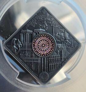Palau - Notre Dame - Sacred Art Holy Windows Silver Coin PCGS MS70 FDI Antiqued