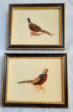 Two Vintage framed Miniature Pictures of Pheasant Birds made with Feathers