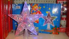 """10 LED  Christmas Tree Topper STAR  Lights Lamp Multi Color Flashing  IN BOX  6"""""""