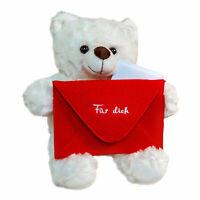 Botschaftsbär mit rotem Umschlag, Liebesbote zum Verschenken, Bärchen