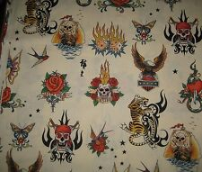 1/2 yd~  Alexander Henry skin tattoo print cotton  fabric~ Quilt quality