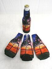 Tropical Sunset Beer Bottle Cooler Holder Long Neck Insulator Palm Trees New G10