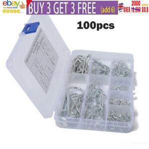 100PCS R CLIPS HITCH PINS STEEL 1mm 1.2mm 1.5mm 1.8mm 2mm 2.5mm `