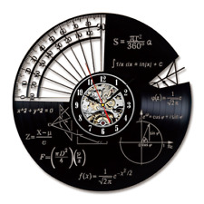 Math Wall Clock Modern Design Retro Study Clocks CD Record Wall Watch Home Decor