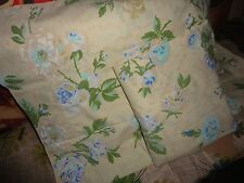 VINTAGE SPRINGMAID LILAC & BLUE ROSES GREEN FLORAL (2PC) TWIN FLAT SHEET, P/CASE