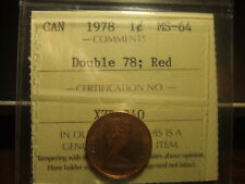 CANADA ONE CENT 1978 DOUBLE 78, Certified ICCS MS-64 !!!!!! FULL RED!