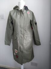 Ladies winter coat Harley Badged Parka - Khaki Size 10 brand new with tags.