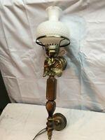 Vtg Wall Mount Light Sconce Mid Century w/ Milk Glass Shade Brass American Eagle
