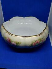 Burton & Burton Footed Dish Bowl Porcelain Flowers Gold Trim Floral Design