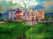 LEROY NEIMAN BOOK PRINT DOUBLE PAGE ST. ANDREWS GOLF COURSE & CLUBHOUSE SCOTLAND