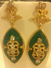 Cristina Sabatini Gold Plated Sterling Silver and Green Resin Earring