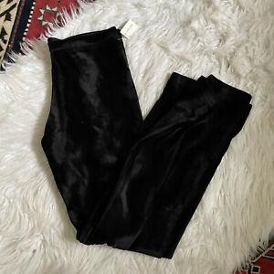 Angelrox Fun Fur Hipster Pants Large L Black Fuzzy Faux Fur Boot Cut High Rise