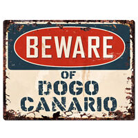 PPDG0082 Beware of DOGO CANARIO Plate Rustic TIN Chic Sign Decor Gift