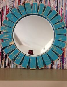 True Turquoise Handmade Sunburst  Wall Mirror 18""