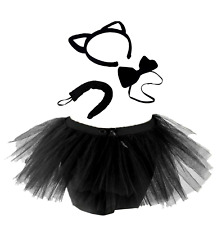 Kids WITCHES BLACK CAT Girls Fancy Dress Halloween Costume Accessory TUTU Set