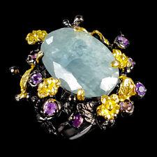 Vintage14ct+ Natural Aquamarine 925 Sterling Silver Ring Size 8/R116666