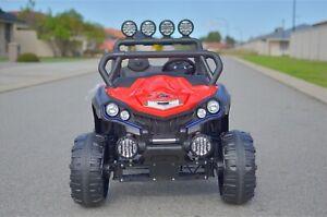 RED KIDS RIDE ON 4X4 BEACH BUGGY CAR ATV UTV WITH SPOT LIGHTS RED