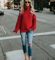 Ladies Winter Chunky Knit Sweater Top Turtleneck Knitwear Women Oversize Jumper