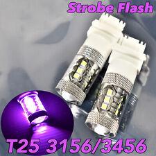 Strobe Reverse Backup Light T25 3156 3456 4156 80W LED Purple Bulb Lamp W1 JA