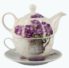 Tea for One - Teapot, Cup & Saucer in Shrink-Wrapping - Sweet Violet - AU Seller