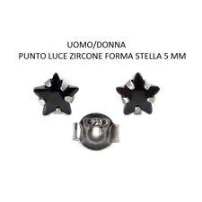 Orecchini Argento 925  Zircone Stella 5 mm Punto Luce Nero- Rodiato