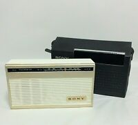 Vintage Sony Radio 6 Transistor AM Works  Leather Case Model 4R-51 Japan Vintage
