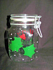 """Merry Christmas"" Decorated Fido 1 Liter Glass Canning/Food Storage/Candy Jar"
