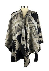 KAREN KANE Cape Poncho Gray Wool Southwestern Tribal Womens One Size Made In USA