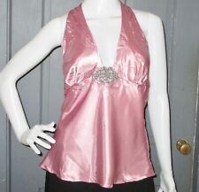 5e174ef0648 LUSH womens pink RHINESTONE halter top S shimmer top EUC