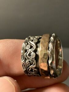 """Sterling Silver Extra Wide Copper Accent Spinner Ring Size 7 1/2   11/16"""" Wdith"""