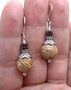 Bold Picture Jasper W. Brown Coconut Shell Sterling Silver Earrings ! A1104