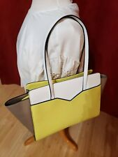 Guess Bright Yellow, White and Tan Purse with lepord print lining
