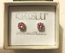 New Crislu Round Pink Cubic Zirconia Stud Earrings 2.0 cttw