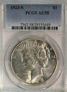 1923-S Peace Dollar. PCGS AU58. Bright White. Choice for Grade.