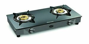 Sunflame Top 2 Burner Gas Stove Iron Diamond BK Glass Black Color Best Gift