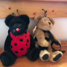 Gently Used Boyd's Lot of 2 Plush Bears in Bumble Bee & Lady Bug Costumes Stuffe