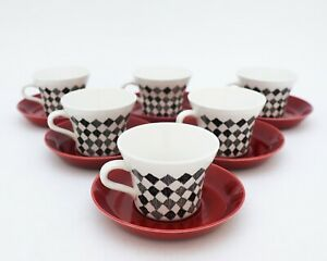 6 Cups & Saucers - Red Top - Marianne Westman - Rörstrand / Rorstrand