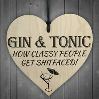 gin and tonicdiy wooden heart plaque wine tags hanging signs decor HT