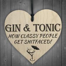 gin y tonicdiy placa de corazón de madera vino etiquetas colgando signos decorVP