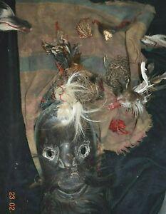 "SALE!! DAN MASK HEADRESS, feathers, hide 1900S 16"" PROV"