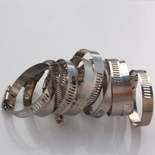 """10x Adjustable 1 3/8""""-2"""" Stainless Steel Drive Hose Clamp Fuel Line Worm Clips"""