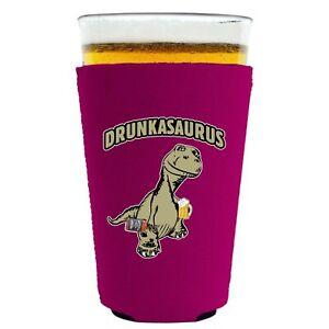 Drunkasaurus Neoprene Collapsible Pint Glass Coolie, T Rex Dinosaur