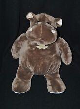 Peluche doudou hippopotame HISTOIRE D'OURS brun marron blanc crème 35 cm NEUF