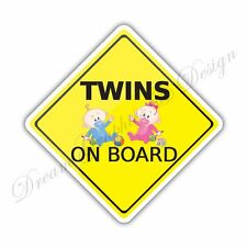 Baby on Board Twins Full Color Adhesive Vinyl Sticker Window Car Bumper 23